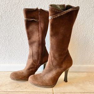 Charles David brown Suede calf high boots size 8